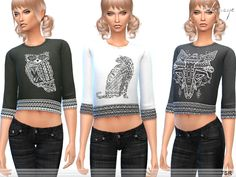 Aztec animal print crop sweatshirt. Three-quarter sleeves. 3 different colors. New item.  Found in TSR Category 'Sims 4 Female Everyday'