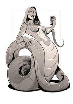 Naga by Yuka-Soemy female snake humanoid hybrid anthro npc monster beast… Fantasy Character Design, Character Design Inspiration, Character Art, Writing Inspiration, Female Monster, Monster Girl, Snake Monster, Fantasy Races, Fantasy Art