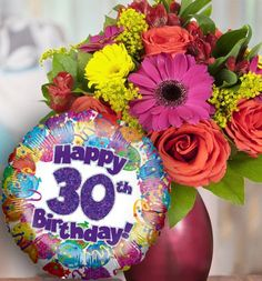 30th Birthday Flowers And Balloon Available For UK Wide Delivery From Order Flowerscouk
