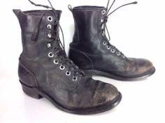 Mens Vintage Addison Black Leather Combat Military Jump Boots Sz 8