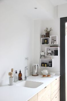 minimal kitchen in white and raw wood ⎟ @ilariafatone