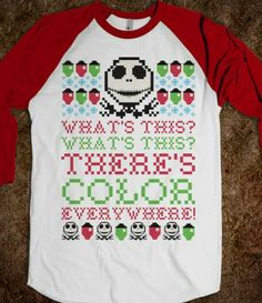 Skellington Ugly Sweater funny night mare before christmas xmas what's this? there's color everywere.