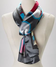 This Gray & Pink Abstract Silk-Blend Scarf is perfect! #zulilyfinds
