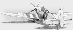 Airplane Sketch, Airplane Drawing, Marvel Drawings, Car Drawings, Aircraft Tattoo, Spitfire Airplane, Perspective Sketch, Aviation Decor, Supermarine Spitfire