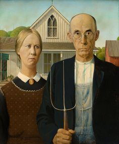"Lemieux looked to American regionalist artists like Grant Wood and Thomas Hart Benton for inspiration. Grant Wood, ""American Gothic,"" Art Institute of Chicago. American Gothic Painting, American Gothic House, Grant Wood American Gothic, American Gothic Parody, American Realism, American Artists, American Gods, American Modern, American History"
