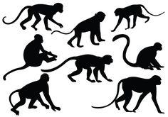 Monkey Silhouette Vector | Silhouette Clip Art | Bloglovin'