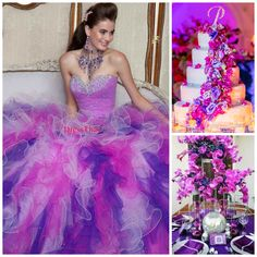 Purple and pink | Quinceanera Ideas | Quinceanera Cake |