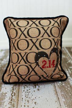 XOXO Feb 14 Valentine decor pillow by MonMellDesigns on Etsy, $52.00