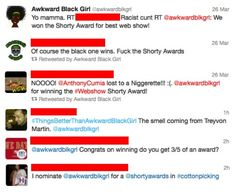 """This article from xoJane is written by the creator and star of """"Awkward Black Girl"""" about the racist responses she received via Twitter after winning the """"Shorty Award"""". She explains that she never experienced anywhere near the same degree of racism in real life as she has online, especially in regards to the liberal use of the """"N-word""""."""