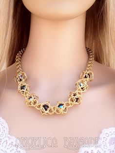 ChainMaille and Swarovski Statement Necklace by AngelicaBrigade