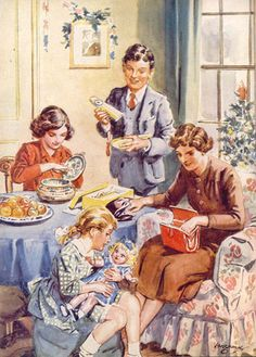 Perhaps one of the brave single mothers in a DES book illust: H. Brock, from an Enid Blyton book Christmas Past, Retro Christmas, Vintage Christmas Cards, Vintage Children's Books, Vintage Posters, Vintage Art, Enid Blyton Books, Children's Book Illustration, Book Illustrations