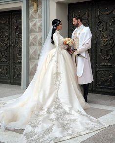 Mariam Shukakidze and David Bolqvadze Mature Wedding Dresses, Latest Wedding Gowns, Muslim Wedding Dresses, Wedding Dress Necklines, Cute Wedding Dress, Dream Wedding Dresses, Bridal Dresses, Maternity Shoot Dresses, Muslimah Wedding Dress