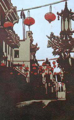 Chinatown relief linocut print by LisaVanMeter on Etsy,
