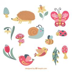 Lovely animals set Vetor grátis                                                                                                                                                                                 Mais