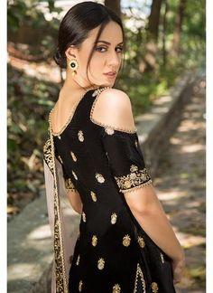 Shop Designer Churidar Suits and Churidar Kameez Online Churidar Suits, Indian Dresses, Black Velvet, Desi, Cold Shoulder Dress, Dress Up, Model, Kurtis, Corsets