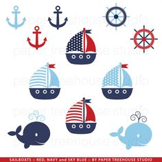 Sailboats, Anchors and Whales - Printable Clip Art Set - Red Navy and Sky Blue - Eleven Files. $4.75, via Etsy.