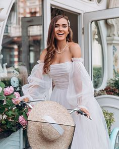 White wedding dress by Dream&Dress. Bohemian off shoulder dress, tulle delicate bridal gown, ball or prom dress, A-line light dress, rustic bride Blush Pink Wedding Dress, White Wedding Dresses, Reception Dresses, Wedding White, Summer Wedding, Beach Dresses, Prom Dresses, Dress Beach, Tulle Gown