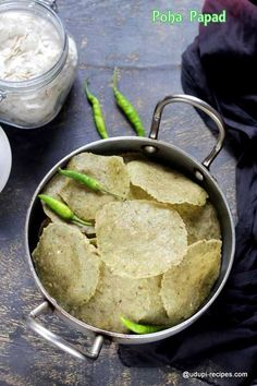 Easy and effortless poha papad. It doesn't need any cooking and box full of summer delicacy is ready in 30 minutes. Enjoy home made papad's deliciousness. Healthy Indian Recipes, Indian Snacks, Asian Recipes, Vegetarian Recipes, Snack Recipes, Cooking Recipes, Kerala Recipes, Veg Cutlet Recipes, Cutlets Recipes