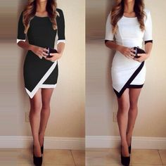 White & Black Patchwork Elegant Dresses Bodycon Pencil Short Mini Dress