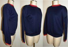 60s 1960s Sweatshirt / Jumper / sweater / Navy Blue / by JEWVENCHY