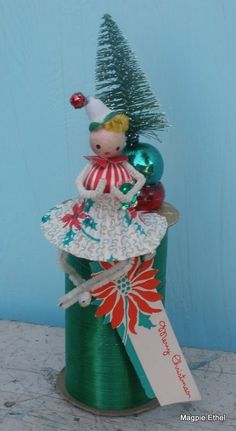 Vintage Style Spun Head Merry Christmas with by MagpieEthel Handmade Christmas Gifts, Vintage Christmas Ornaments, Christmas Love, Retro Christmas, All Things Christmas, Christmas Holidays, Christmas Decorations, Xmas, Christmas Items