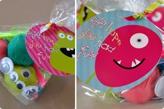 "Fun party favor: ""Make a monster"" kit--with homemade play dough in a few colors, goggly eyes, pipe cleaners, & monster mouths, all sealed in a plastic baggie with cute tag."