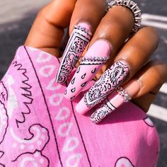 💕Pretty in vibes with these beautiful nails!😍 A total baddie nail look all hand drawn!💅🏼👸🏻 Recreate this set with 'Tickled Pink' 💕⠀⠀⠀⠀⠀⠀⠀⠀⠀ ⠀⠀⠀⠀⠀⠀⠀⠀⠀⠀⠀⠀⠀⠀⠀⠀⠀⠀ ⠀⠀⠀⠀⠀⠀⠀⠀⠀⠀⠀⠀⠀⠀⠀⠀⠀⠀⠀⠀⠀ ⠀⠀⠀⠀⠀⠀⠀⠀⠀⠀⠀⠀⠀⠀⠀⠀⠀⠀ Nails by: Edgy Nails, Bling Nails, Summer Acrylic Nails, Best Acrylic Nails, Nail Swag, Bandana Nails, Nagel Bling, Cute Pink Nails, Cute Acrylic Nail Designs