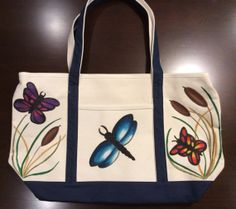 Zippered Tote Bag Hand Painted with Dragonfly by GulfLifebyNichole, $44.99