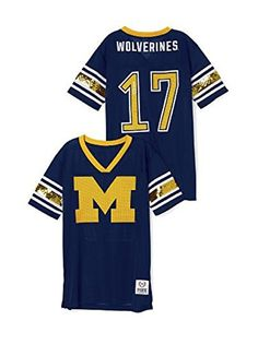 9b995c49986 Victorias Secret PINK University of Michigan Bling Jersey Tshirt Large Navy      Learn more