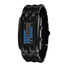 Future Technology Binary Watch Men's Women Black Stainless Steel Date Digital LED Bracelet Sport Watches