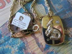 NOS Pierre Zodiac Capricorn PENDANT 18 by GrammiesCupboard on Etsy