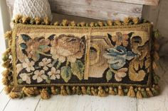 Antique French Tapestry pillow Aubusson with vintage Passementerie