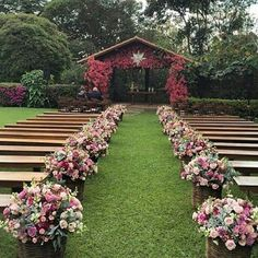Wedding Ceremony Flowers Aisle Events Ideas For 2019 Wedding Ceremony Ideas, Wedding Reception Flowers, Outdoor Wedding Venues, Outdoor Events, Wedding Colors, Dress Wedding, Party Outdoor, Rustic Garden Wedding, Garden Wedding Decorations