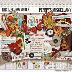 A FREE digital scrapbooking kit by Penny's Miscellany bustling with the beauty of autumn, the joy of Thanksgiving, and the cozy warmth of sweater weather.