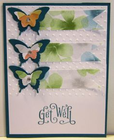 """Perfectly Penned Stamp Set """"Get Well"""" Island Indigo Whisper White Watercolor Wonder DSP Elegant Butterfly Punch Bitty Butterfly Punch Polka Dot Embossing"""
