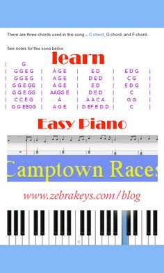 Learn Easy Piano songs, Camptown Races, comes with Free sheet music, and more songs: Jingle Bells, Brother Joh, Yankee Doodle at.http://www.zebrakeys.com/blog/2009/06/camptown-races/