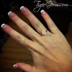"""""""Love love love my ring! So pretty and exactly as shown! Perfect anniversary gift!"""" 💌✨❤️ Thank you to my client for her review and photo! She is wearing the 2 carat, 4 prong 14k rose gold plated solitaire.  Follow @tigergemstones  Shop now at 💍✨ TigerGems.com"""