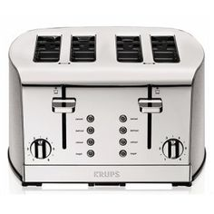 KRUPS Breakfast Set 4-Slice Toaster: The KRUPS Breakfast Set 4-Slice Toaster looks like a thing from the future at first glance. The toaster has a unique design brushed in stainless steel and comes with 6 variable levels for desired crispiness. The interface is easy to understand while there are ample slots (4) and of sufficient size to meet all your toasting needs.
