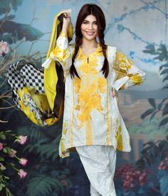 d4965105a7 #SanaSafinazDesignerLawnSuits 2017 - dandelion yellow embroidered lawn suit  with silk dupatta Dandelion Yellow, Lawn