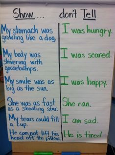 Great anchor chart for a writing workshop or mini lesson about showing in narrative writing, not just telling. Writing Strategies, Writing Lessons, Teaching Writing, Writing Skills, Writing Tips, Thesis Writing, Writing Rubrics, Paragraph Writing, Opinion Writing