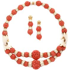 1970s David Webb Coral Enamel Gold Set | From a unique collection of vintage beaded necklaces at https://www.1stdibs.com/jewelry/necklaces/beaded-unecklaces/68000$