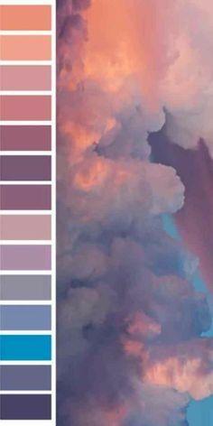 Color pallets Beautiful and oversized color palette full of sky hues Colour Pallette, Colour Schemes, Color Combos, Pastel Color Palettes, Sunset Color Palette, Sunset Colors, Winter Colour Palette, Vintage Color Schemes, Purple Palette