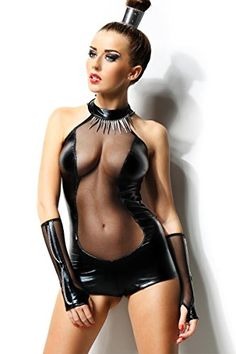 Dessous Sexy Body+Armstulpen Wetlook schwarz Reizwäsche Clubwear Party , Größe:S/M