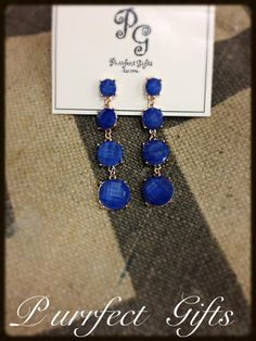 Cobalt Blue Drop Earrings from Purrfect Gifts. Facebook.com/purrfectgiftslafayette