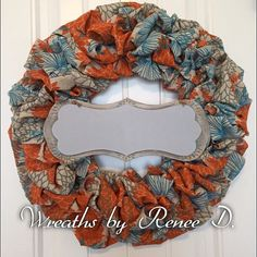 Burlap wreath/ patterned wreath / spring by ReneeDaviesCrafts
