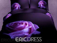 Purple Bedding Sets, 3d Bedding Sets, Purple Bedrooms, Floral Bedding, Bedding Sets Online, Comforter Sets, King Comforter, Rose Comforter, Unique Bedding