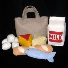 *** Pattern and instructions only *** Imagine all the fun that could be had shopping for felt groceries! This set is sure to be a hit for