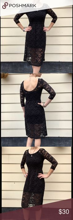 Free People Backless Black Lace Midi Dress XS This pre-loved Free People black lace dress is in great condition, no tears, stains or rips. It's very versatile--It's perfect for dinner dates and even for work with a jacket over it. The top and skirt are lined, 3/4 sleeves and the deep scoop in the back is perfect because you can still wear a bra! Only worn a couple times. From shoulders to bottom of skirt- 42 inches. The waist is 26 inches flat but has elastic so it stretches a bit. Free…