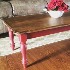 Red chalk paint coffee table