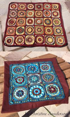 Circles of the Sun pillow and blanket by Christine Sanderson